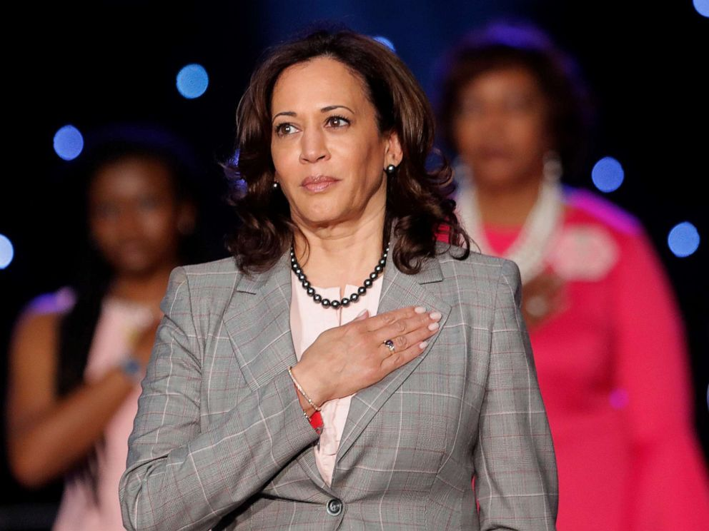 PHOTO: Democratic Presidential Candidate Sen. Kamala Harris holds her hand to her heart during the National Anthem before speaking at the Alpha Kappa Alpha Sorority South Central Regional Conference in New Orleans, April 19, 2019.