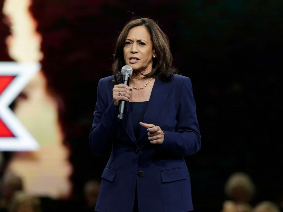 PHOTO: Democratic presidential candidate Sen. Kamala Harris speaks during the Iowa Democratic Partys Liberty and Justice Celebration, Nov. 1, 2019, in Des Moines, Iowa.
