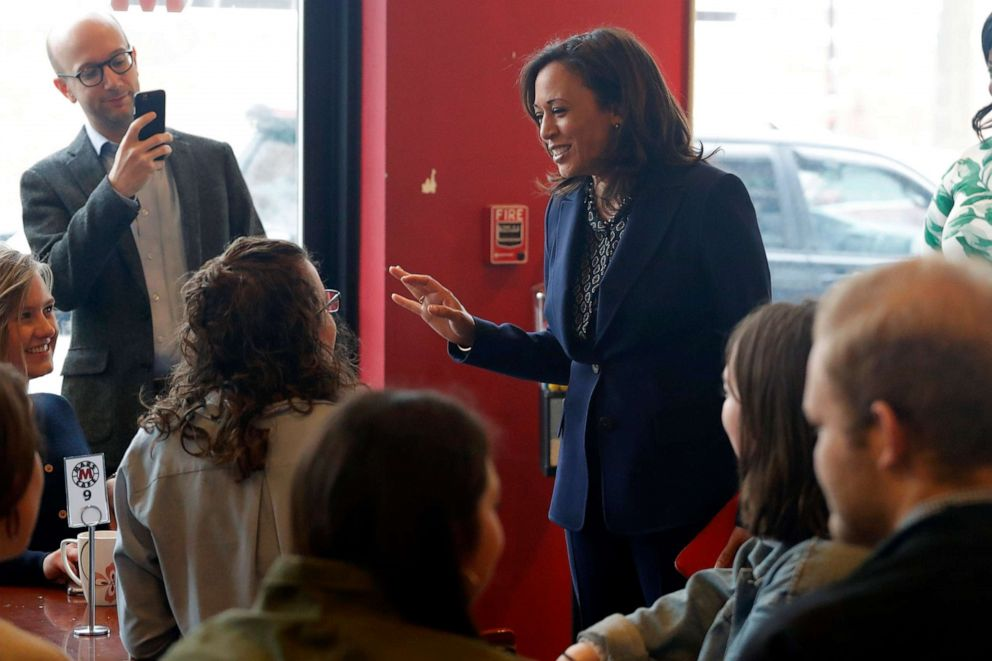 PHOTO: 2020 Democratic presidential candidate Sen. Kamala Harris speaks to students at a local cafe, April 11, 2019, in Des Moines, Iowa.