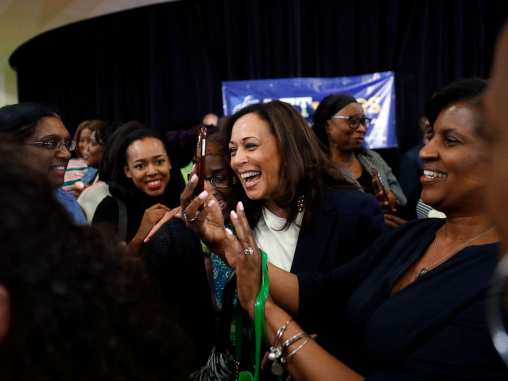 PHOTO: Democratic presidential candidate Sen. Kamala Harris laughs with attendees after a town hall for the American Federation of Teachers in Detroit, May 6, 2019.