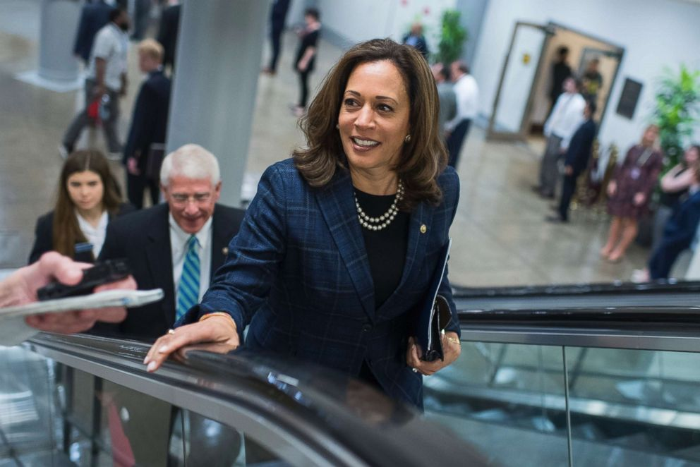 Sen. Kamala Harris, D-Calif., makes her way to the Senate Policy luncheons at the Capitol, May 22, 2018.