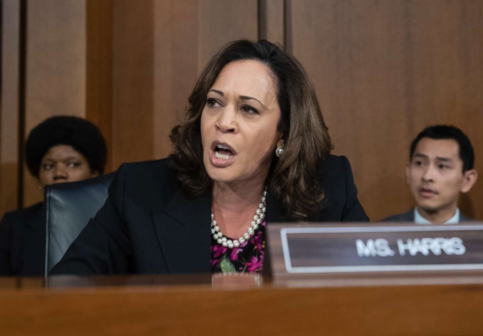 Sen. Kamala Harris, D-Calif., and other Democrats on the Senate Judiciary Committee appeal to Chairman Chuck Grassley, R-Iowa, to delay the confirmation hearing of President Donald Trump's Supreme Court nominee, Brett Kavanaugh, on Capitol Hill, Sept. 4, 2018.