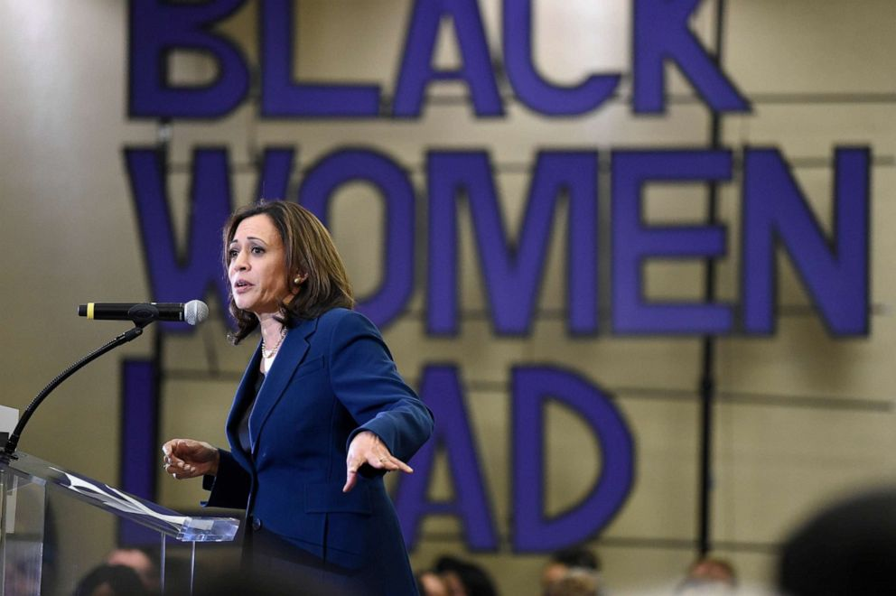 PHOTO: Democratic presidential candidate Sen. Kamala Harris seaks to a crowd during a Black Womens Weekend of Action event at Benedict College, Nov. 23, 2019, in Columbia, S.C.