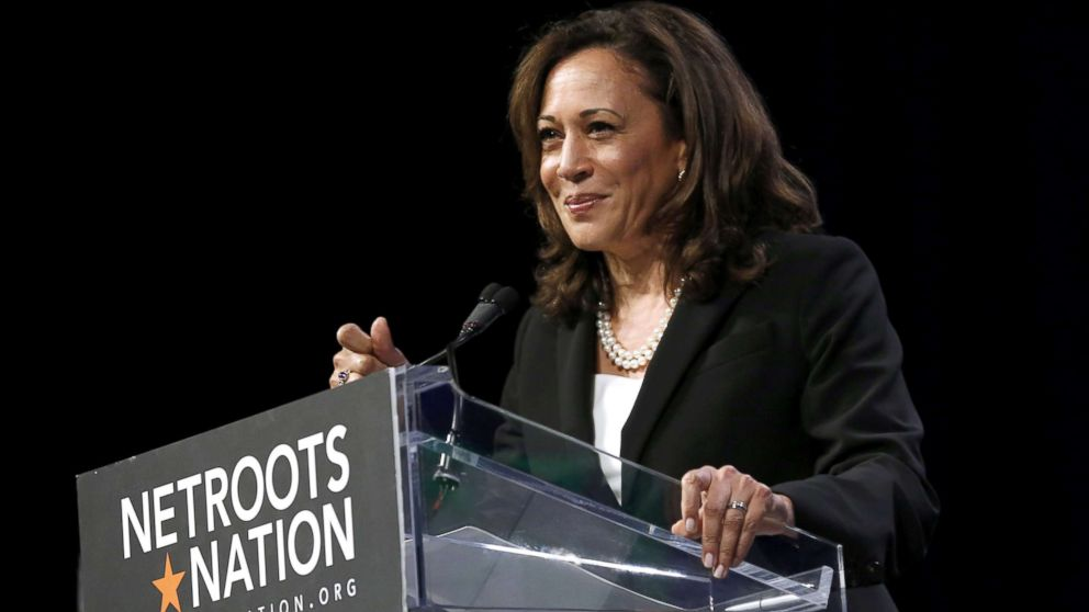 Senator Kamala D. Harris speaks at the Netroots Nation annual conference for political progressives in New Orleans, Aug. 3, 2018.