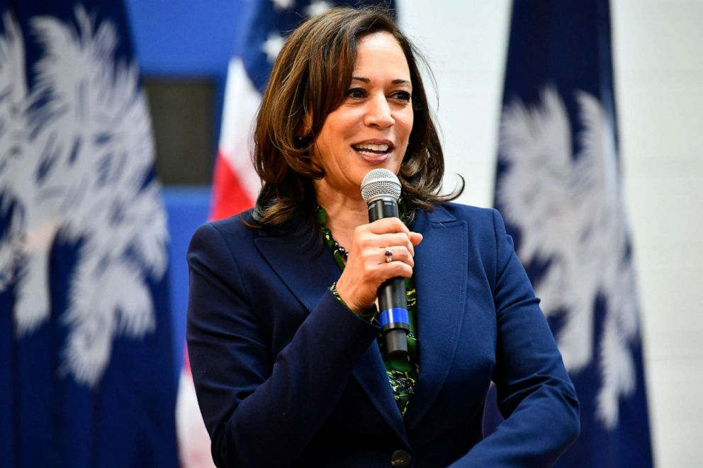 PHOTO: Sen. Kamala Harris speaks at a town hall gathering, March 8, 2019, in Hemingway, S.C.