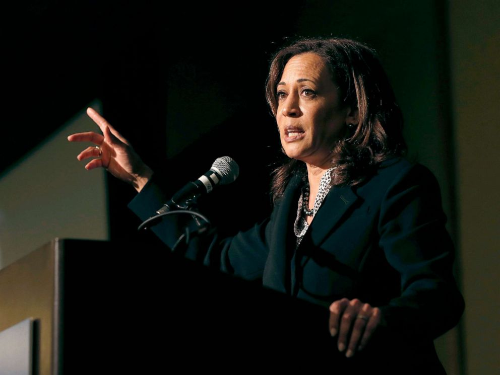 PHOTO: Sen. Kamala Harris addresses labor leaders at the California Labor Federal and State Building and Construction Trades Council Legislative Conference Dinner, April 1, 2019, in Sacramento, Calif.