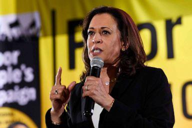 PHOTO: Democratic presidential candidate Sen. Kamala Harris, D-Calif., speaks at the Poor Peoples Moral Action Congress presidential forum in Washington, June 17, 2019.