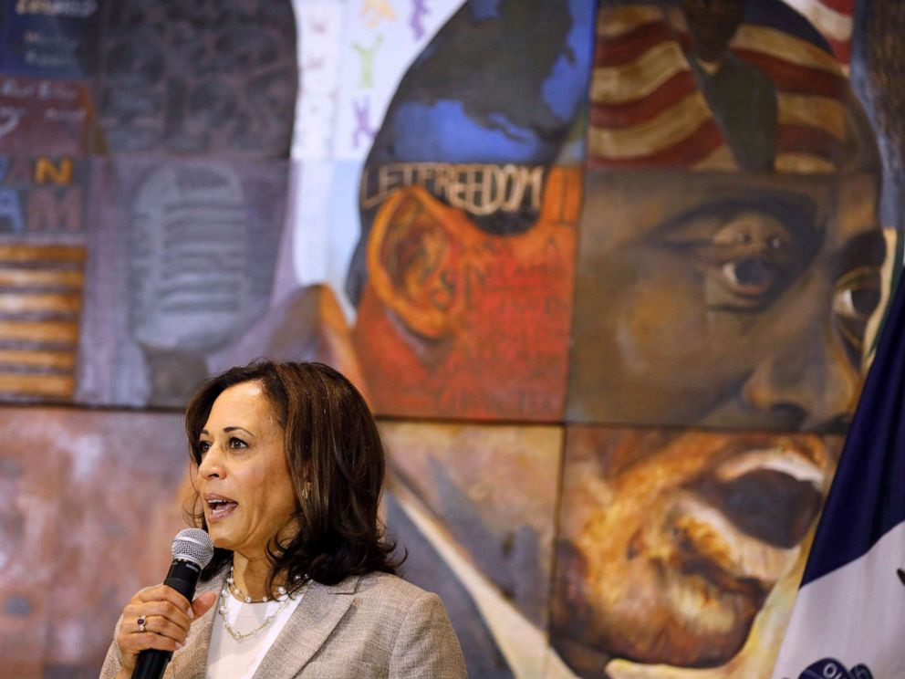 PHOTO: Democratic presidential candidate Sen. Kamala Harris, D-Calif., speaks during a Women of Color roundtable discussion, July 16, 2019, in Davenport, Iowa.