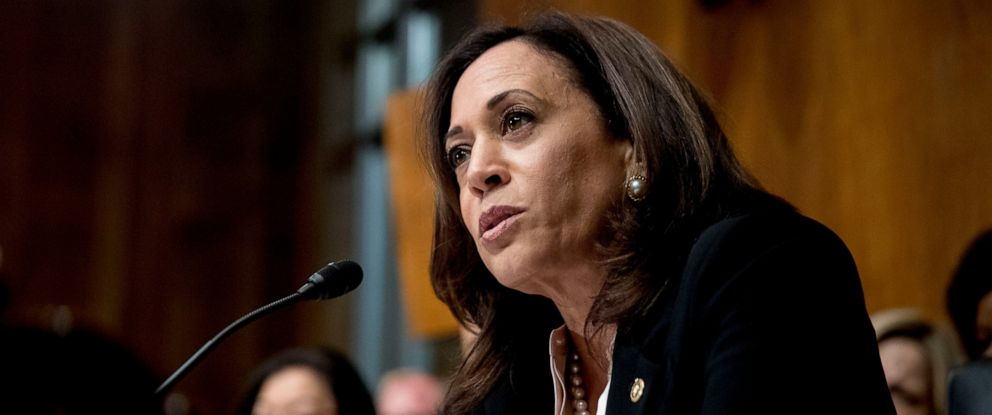 PHOTO: In this Wednesday, May 1, 2019, file photo, Sen. Kamala Harris, D-Calif., speaks as Attorney General William Barr testifies during a Senate Judiciary Committee hearing on the Mueller Report on Capitol Hill in Washington.