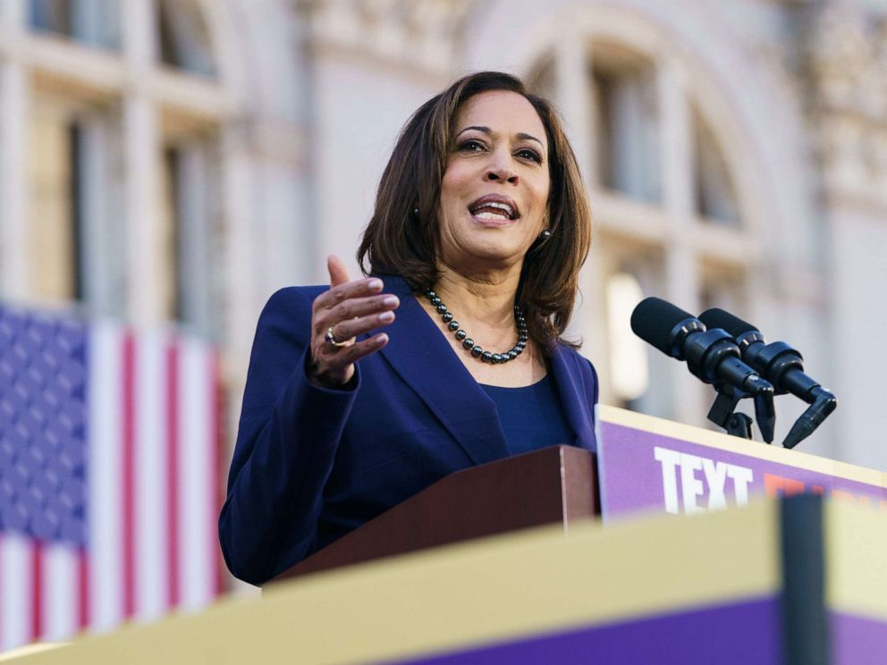 PHOTO: Sen. Kamala Harris speaks to her supporters during her presidential campaign launch rally in Frank H. Ogawa Plaza on Jan. 27, 2019, in Oakland, Calif.