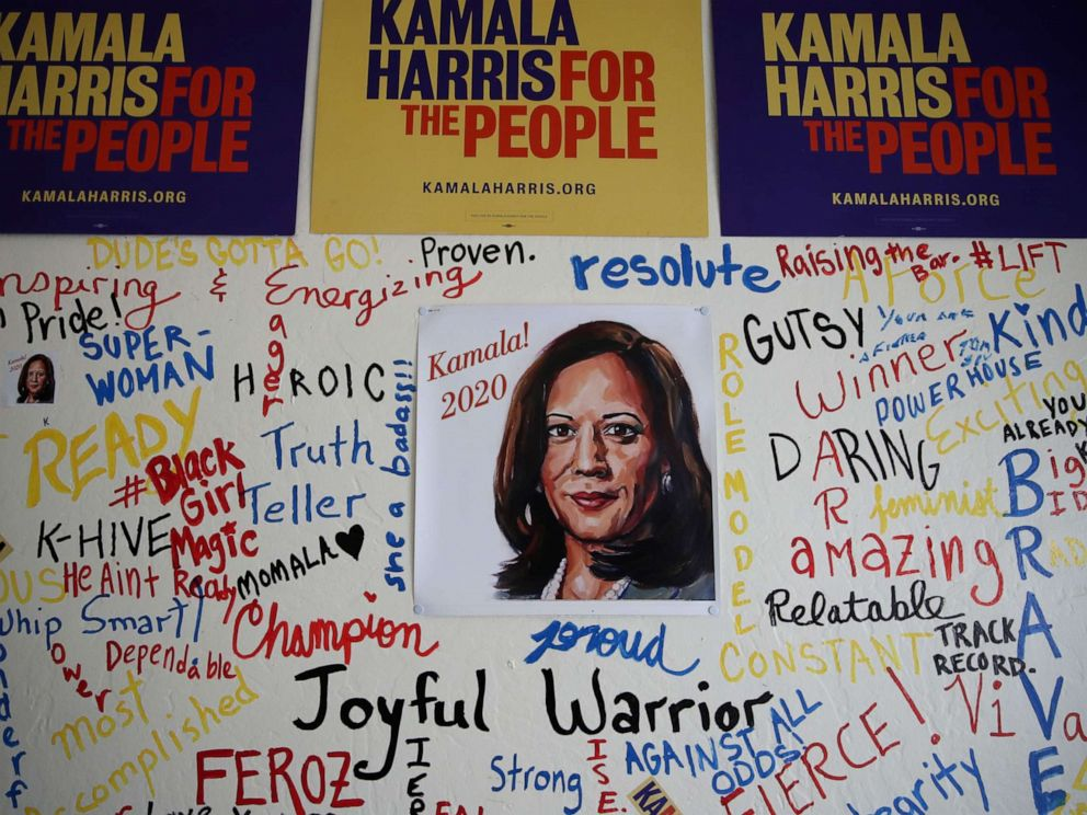 PHOTO: A picture of Sen. Kamala Harris is displayed on a wall inside of her Oakland, Calif., campaign office on Dec. 03, 2019.