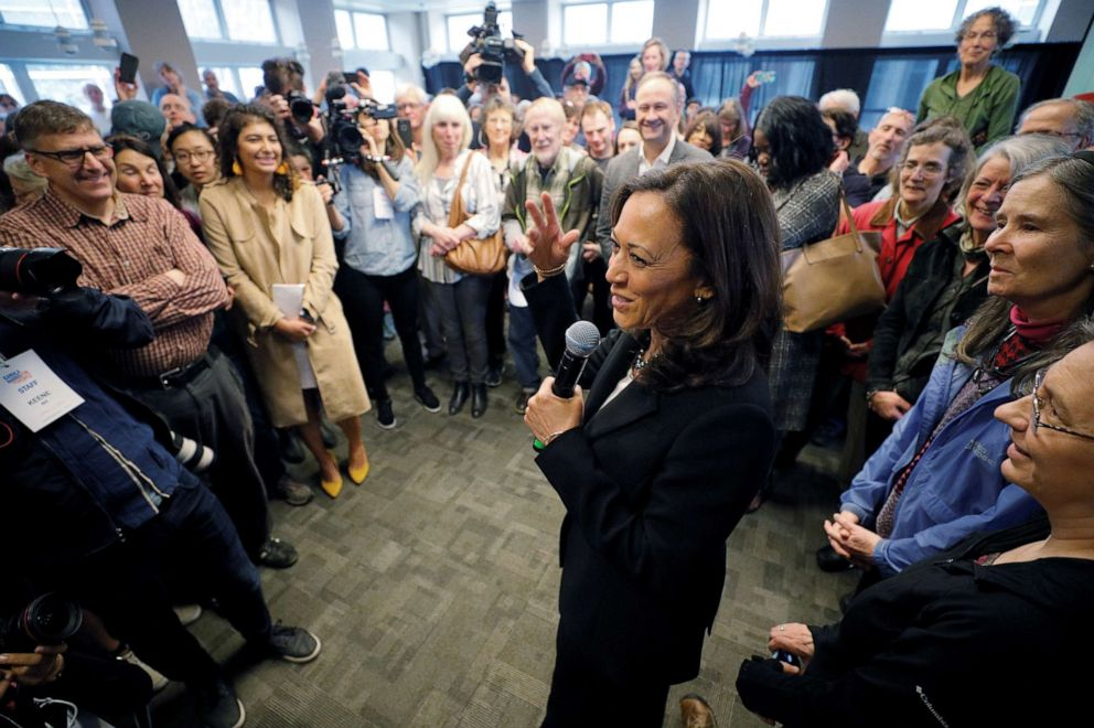 PHOTO: Democratic 2020 presidential candidate and Senator Kamala Harris greets the overflow crowd during a campaign stop at Keene State College in Keene, N.H., April 23, 2019.
