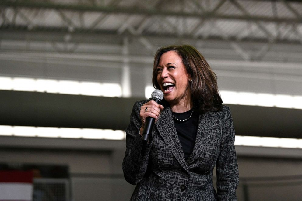 PHOTO: 2020 Democratic presidential candidate Kamala Harris takes the stage for a rally at Texas Southern University in Houston, Texas, March 23, 2019.