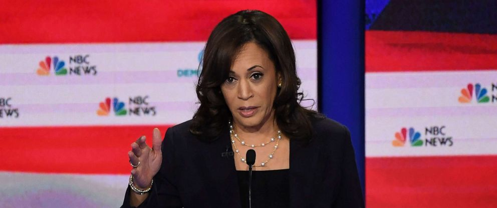 PHOTO: Kamala Harris participates in the second night of the first 2020 democratic presidential debate at the Adrienne Arsht Center for the Performing Arts in Miami, June 27, 2019.
