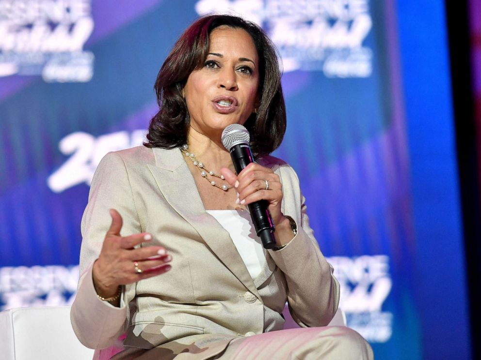 PHOTO: Kamala speaks on stage at 2019 Essence Festival at Ernest N. Morial Convention Center on July 06, 2019, in New Orleans.