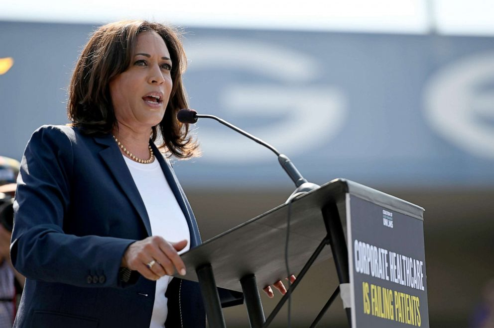 PHOTO: Democratic presidential hopeful Senator Kamala Harris speaks at a Labor Day rally for healthcare workers and supporters, Sept. 2, 2019, in Los Angeles.