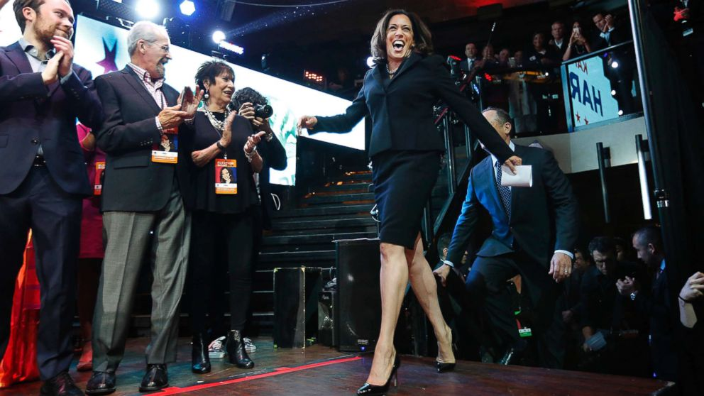 Kamala Harris celebrates winning her Senate race at her rally in downtown on Nov. 8, 2016 in Los Angeles.