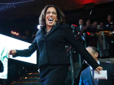 PHOTO: Kamala Harris celebrates winning her Senate race at her rally in downtown on Nov. 8, 2016 in Los Angeles.