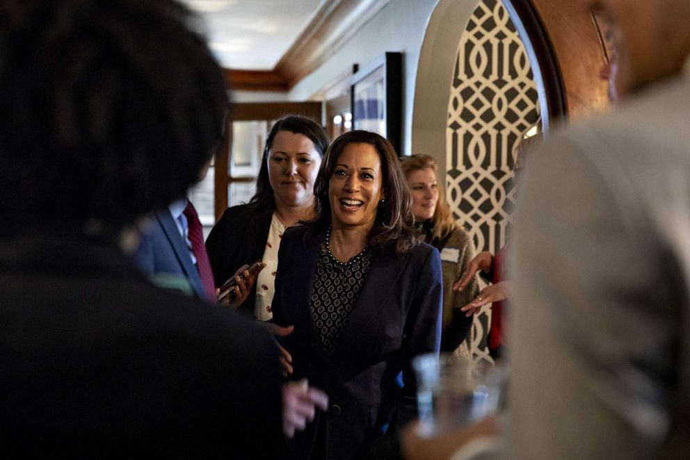 PHOTO: Sen. Kamala Harris, a Democrat from California and 2020 presidential candidate, greets attendees during a campaign event at a private residence in Des Moines, Iowa, April 11, 2019.