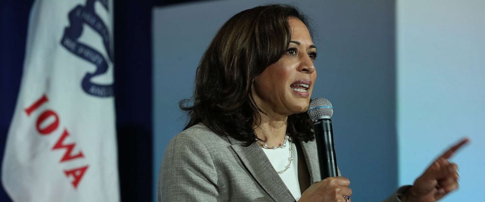 PHOTO: Democratic presidential candidate U.S. Sen. Kamala Harris, D-Calif., speaks during the AARP and The Des Moines Register Iowa Presidential Candidate Forum on Tuesday, July 16, 2019 in Bettendorf, Iowa.