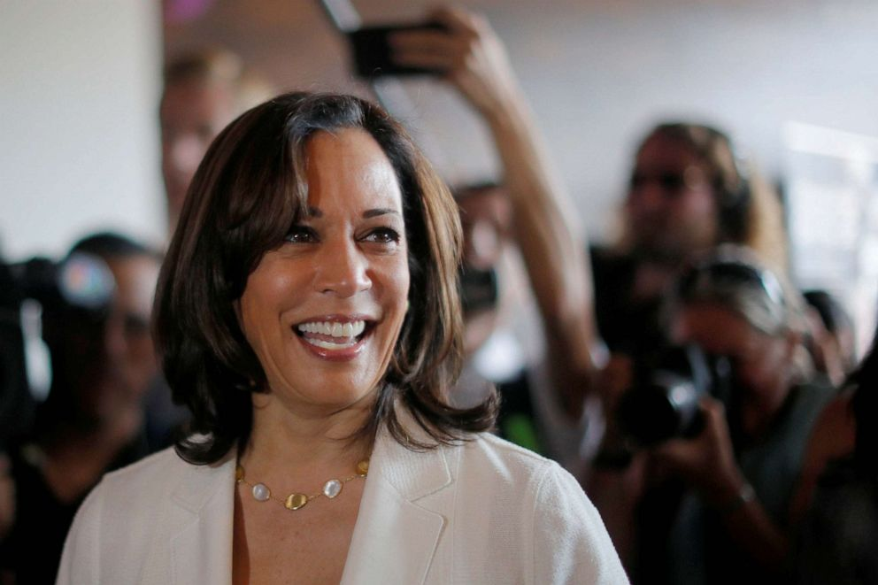 PHOTO: Democratic 2020 U.S. presidential candidate and U.S. Senator Kamala Harris makes a campaign visit to the Narrow Way Cafe and Shop in Detroit, Michigan, July 29, 2019.