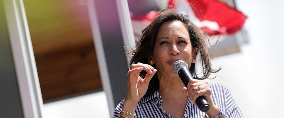 PHOTO: Democratic presidential candidate and Senator Kamala Harris speaks during a Fourth of July House Party in Indianola, Iowa, July 4, 2019.