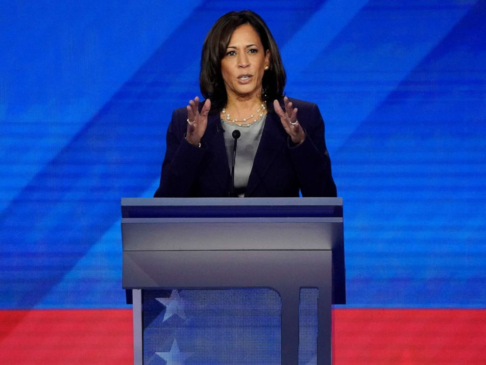 PHOTO: Senator Kamala Harris speaks during the 2020 Democratic presidential debate in Houston, Texas, Sept. 12, 2019.