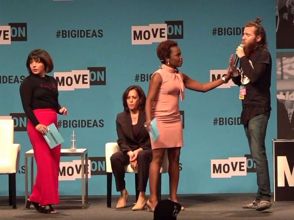 PHOTO: Sen. Kamala Harris was rushed on stage at a MoveOn event in San Francisco by an animal rights activist Saturday, June 1, 2019.