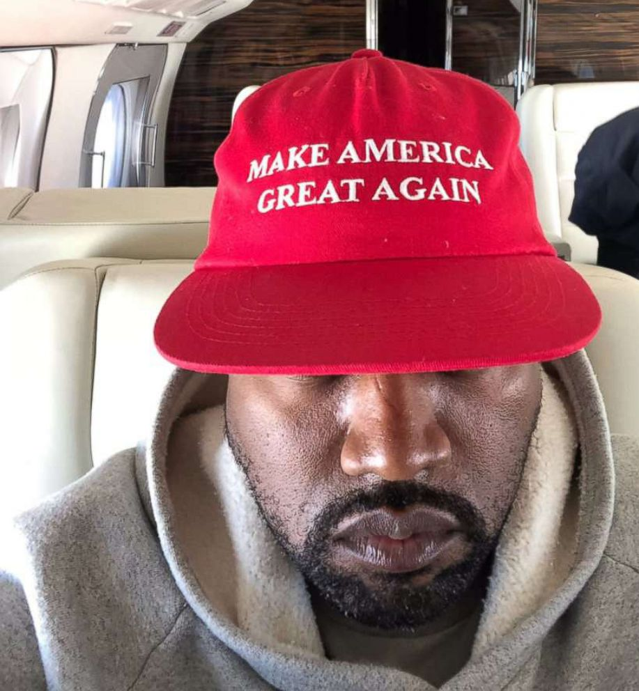 PHOTO: Kanye West posted this photo of himself wearing a hat saying Make America Great Again to his Twitter account, Sept. 30, 2018.