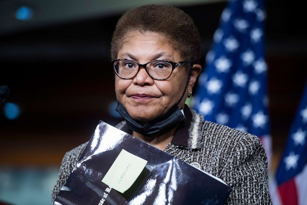 PHOTO: Rep. Karen Bass, chair of the Congressional Black Caucus, conducts a news conference in the Capitol Visitor Center in Washington, Sept. 23, 2020.