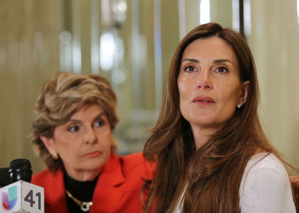 PHOTO: Karena Virginia (R) speaks at a press conference where she identifies herself as victim of sexual misconduct by Donald Trump at The London Hotel, Oct. 20, 2016, in New York.