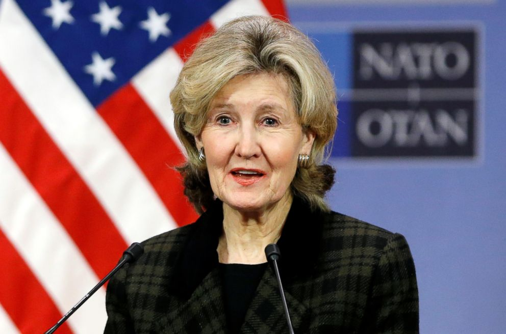 PHOTO: U.S. Ambassador to NATO Kay Bailey Hutchison briefs the media ahead of a NATO meeting at the Alliance headquarters in Brussels, Feb. 13, 2018.