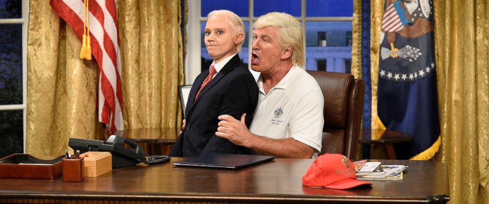 """PHOTO: In this image released by NBC, Kate McKinnon portrays Attorney General Jeff Sessions, left, and Alec Baldwin portrays President Donald Trump during the cold open for """"Saturday Night Live,"""" on Sept. 30, 2017, in New York."""