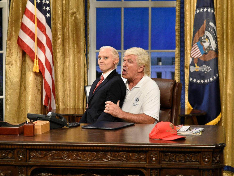 PHOTO: In this image released by NBC, Kate McKinnon portrays Attorney General Jeff Sessions, left, and Alec Baldwin portrays President Donald Trump during the cold open for Saturday Night Live, on Sept. 30, 2017, in New York.