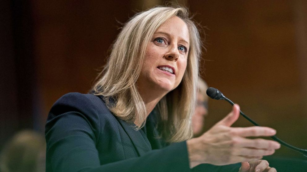 Kathy Kraninger, director of the Consumer Financial Protection Bureau (CFPB) speaks during a Senate Banking Committee confirmation hearing in Washington, July 19, 2018.