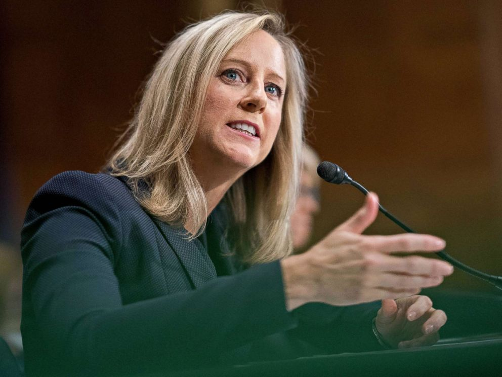 PHOTO: Kathy Kraninger, director of the Consumer Financial Protection Bureau (CFPB) speaks during a Senate Banking Committee confirmation hearing in Washington, July 19, 2018.