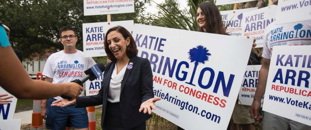 PHOTO: South Carolina Rep. Katie Arrington, who is running for the first district of South Carolina, campaigns after voting for herself in the primary election at Bethany United Methodist Church in Summerville, S.C., June 12, 2018.