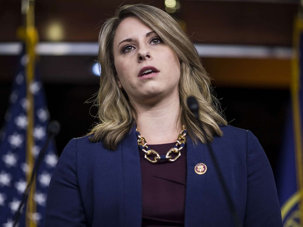 PHOTO: Rep. Katie Hill speaks during a news conference on April 9, 2019, in Washington.