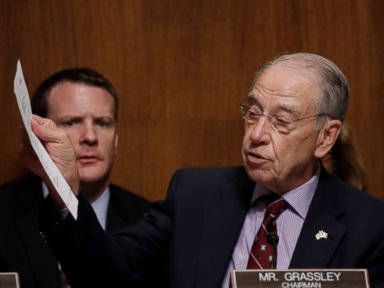 PHOTO: Senate Judiciary Committee Chairman Chuck Grassley holds up a letter from Mark Judge, longtime friend of U.S. Supreme Court nominee Brett Kavanaugh, on Capitol Hill in Washington, Sept. 28, 2018.