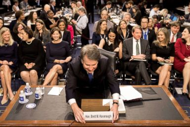 PHOTO: Supreme Court nominee Brett Kavanaugh prepares to testify during the third day of his confirmation Sept. 6, 2018.