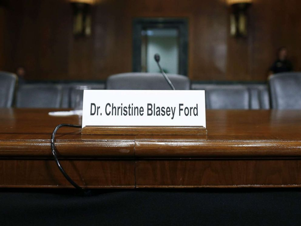 PHOTO: A sign indicates where witness Dr. Christine Blasey Ford will sit to speak to the Senate Judiciary Committee hearing on the nomination of Brett Kavanaugh to the Supreme Court in Washington, Sept. 27, 2018.