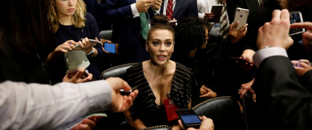 PHOTO: Actress Alyssa Milano talks to media before the Senate Judiciary Committee hearing on the nomination of Brett Kavanaugh to be an associate justice of the Supreme Court in Washington, Sept. 27, 2018.