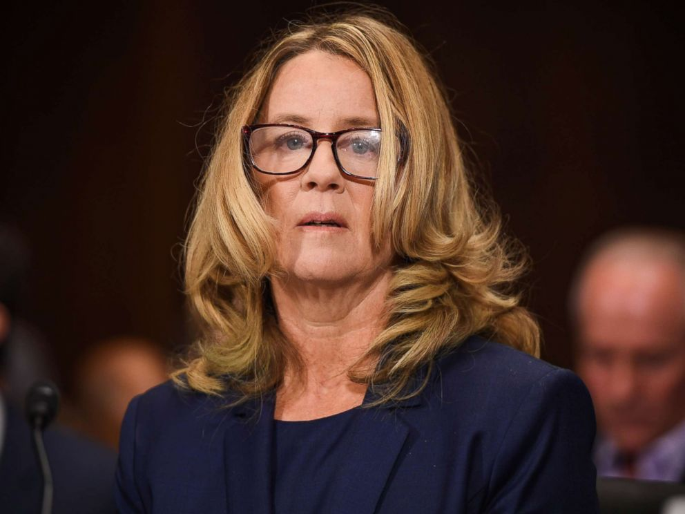 PHOTO: Christine Blasey Ford, the woman accusing Supreme Court nominee Brett Kavanaugh of sexually assaulting her at a party 36 years ago, testifies during his U.S. Senate Judiciary Committee confirmation hearing in Washington, Sept. 27, 2018.