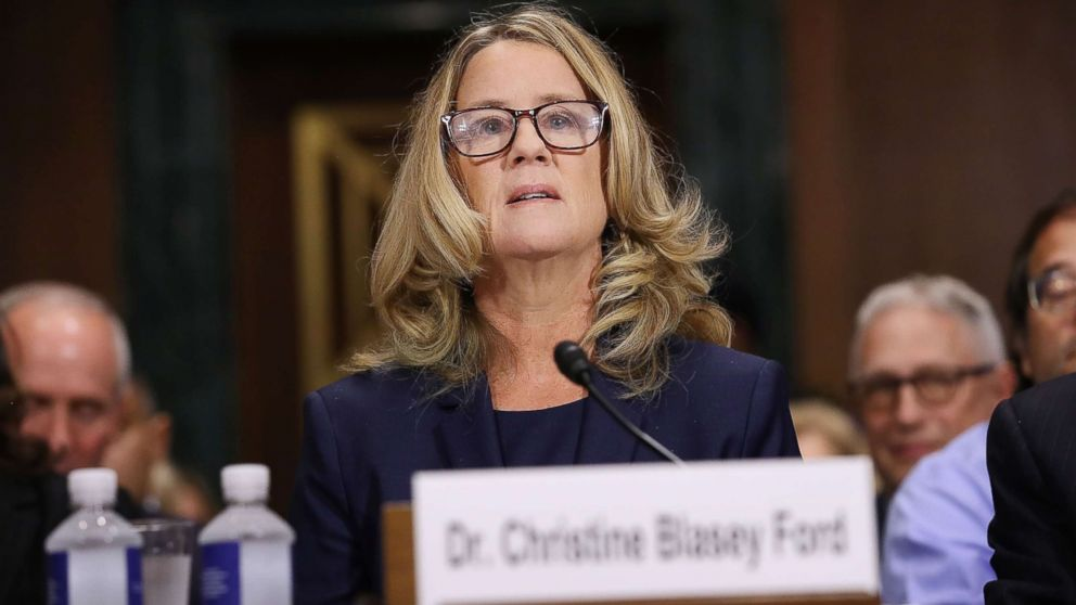 Christine Blasey Ford prepares to testify before the Senate Judiciary Committee in the Dirksen Senate Office Building on Capitol Hill, Sept. 27, 2018 in Washington.