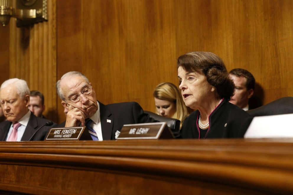 PHOTO: Senator Chuck Grassley listens to Senator Dianna Feinstein at the Senate Judiciary Committee hearing on Capitol Hill in Washington, Sept. 27, 2018.
