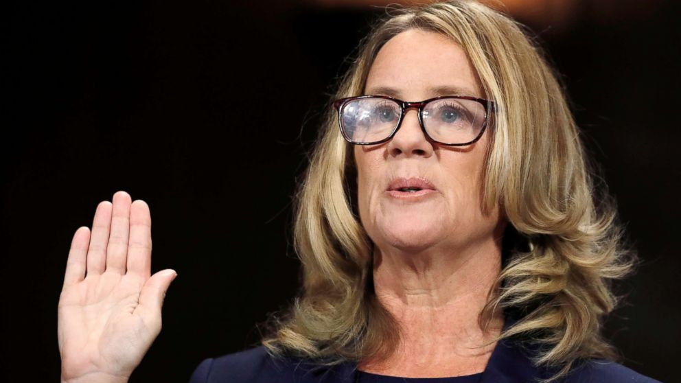 Professor Christine Blasey Ford is sworn in to testify before a Senate Judiciary Committee confirmation hearing for Kavanaugh on Capitol Hill in Washington, Sept. 27, 2018.
