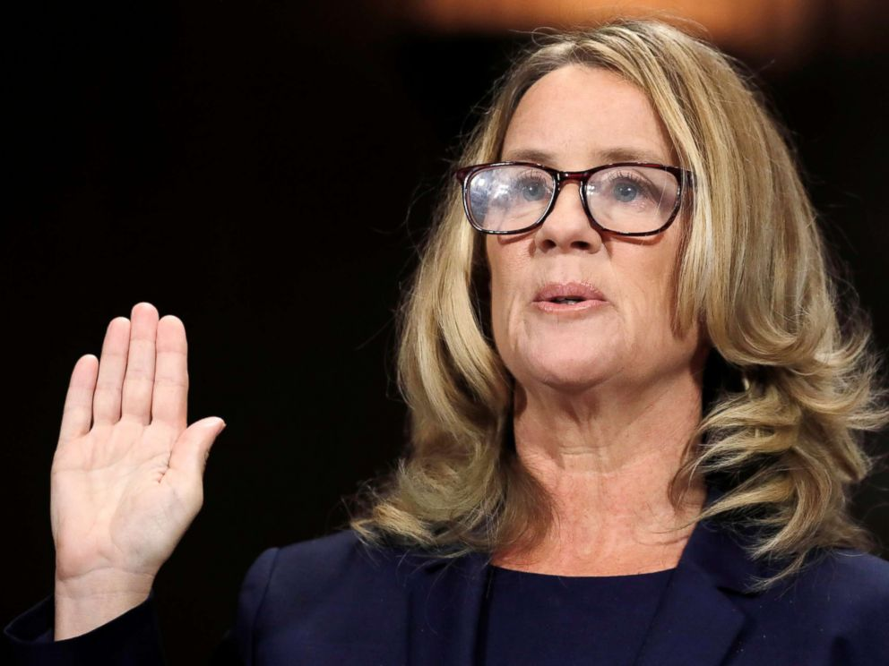 PHOTO: Professor Christine Blasey Ford is sworn in to testify before a Senate Judiciary Committee confirmation hearing for Kavanaugh on Capitol Hill in Washington, Sept. 27, 2018.