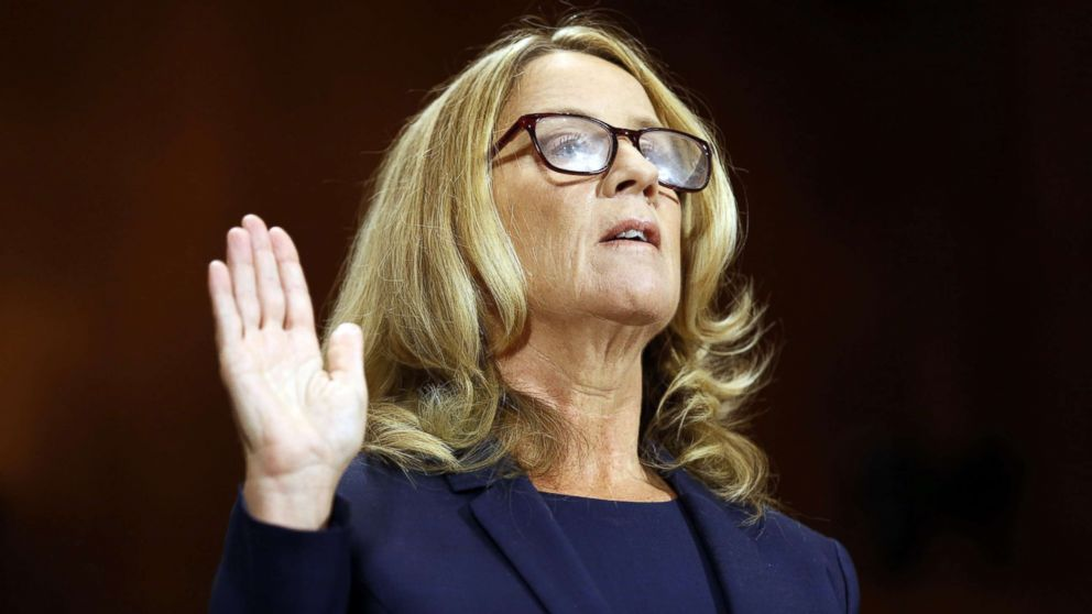 Professor Christine Blasey Ford is sworn in to testify before a Senate Judiciary Committee confirmation hearing for Kavanaugh on Capitol Hill, in Washington, Sept. 27, 2018.