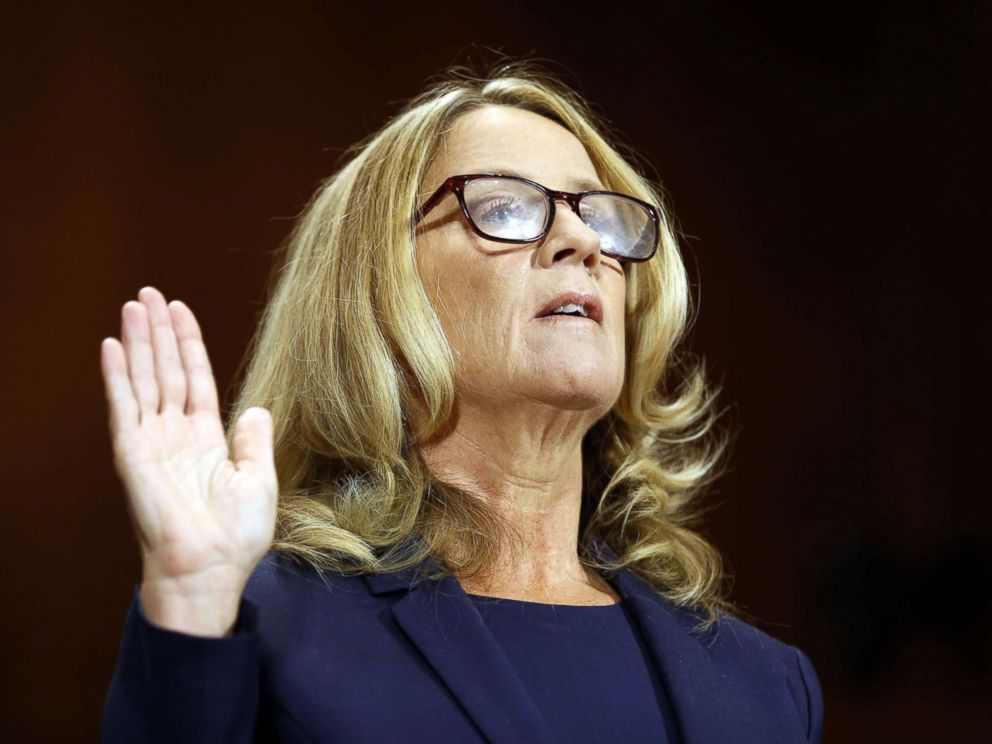 PHOTO: Professor Christine Blasey Ford is sworn in to testify before a Senate Judiciary Committee confirmation hearing for Kavanaugh on Capitol Hill, in Washington, Sept. 27, 2018.