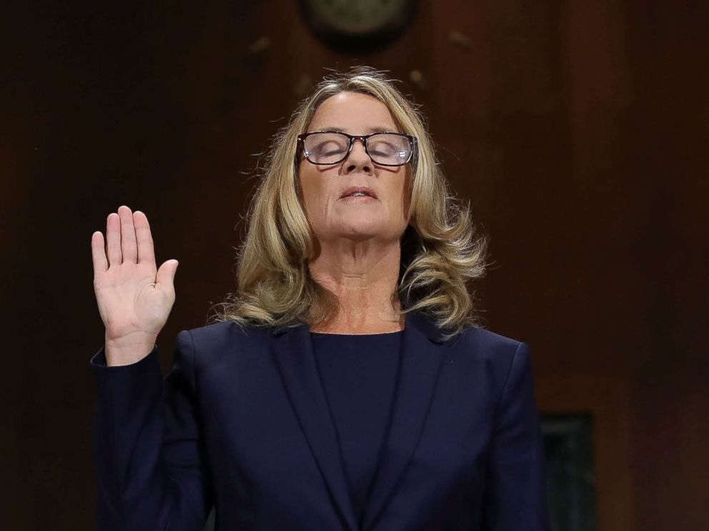 PHOTO: Christine Blasey Ford is sworn in before testifying the Senate Judiciary Committee in the Dirksen Senate Office Building on Capitol Hill, Sept. 27, 2018 in Washington.